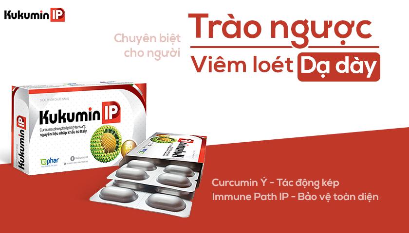 Kukumin IP chuyên biệt cho người viêm loét dạ dày, trào ngược dạ dày, chứa Curcumin Ý