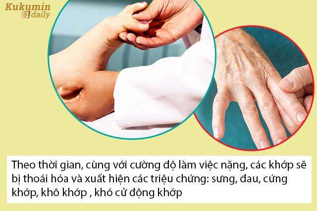 sưng đau khớp do tuổi tác và do vận động nặng